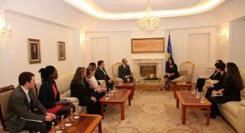 The President of Kosovo, Madam Atifete Jahjaga, Prof. Dr. James A. Sweeney and Masters students on a visit to Kosovo.